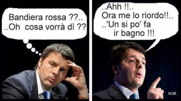 Renzi e la Bandiera rossa
